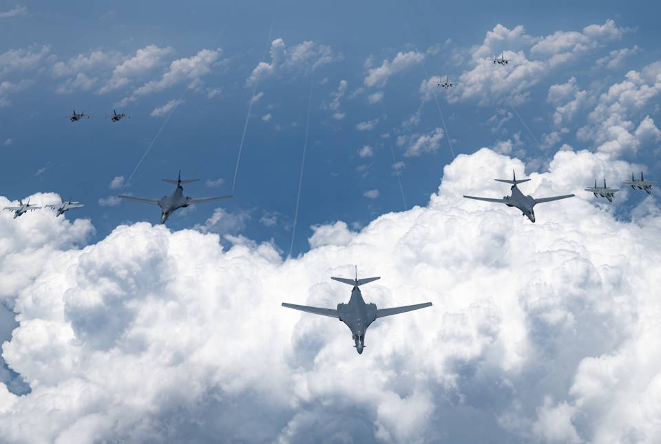 U.S. Air Force, Navy, Marine Corps and Japan Air Self Defense Force aircraft conduct a large-scale joint and bilateral integration training exercise on August 18, 2020. Four B-1B Lancers, two B-2 Spirit Stealth Bombers, and four F-15C Eagles conducted Bomber Task Force missions simultaneously within the Indo-Pacific region over the course of 24 hours. Pacific Air Forces routinely conducts BTF operations to show the United States' commitment to allies and partners in the Indo-Pacific area of responsibility. (U.S. Air Force photo by Staff Sgt. Peter Reft)