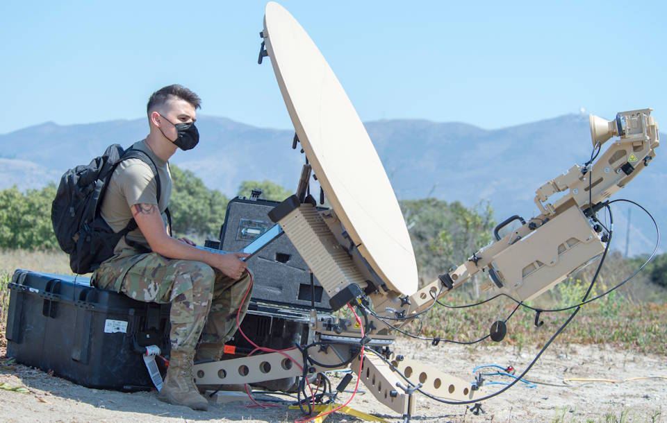 September 5, 2020 - Air Force Senior Airman Peyton Van Nest, a radio frequency transmission system technician with the 51st Combat Communications Special Mission Squadron at Robins Air Force Base, GA sets up a satellite communications antenna during Exercise Agile Reaper at Naval Air Station Point Mugu, California. (U.S. Air Force photo by Senior Airman Collette Brooks)
