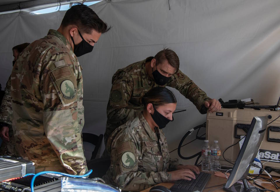 Airmen monitor battlespace movements at a simulated austere base during the Advanced Battle Management System exercise at Nellis Air Force Base, Nevada on Sept. 3, 2020. (U.S. Air Force photo by Tech. Sgt. Cory D. Payne)