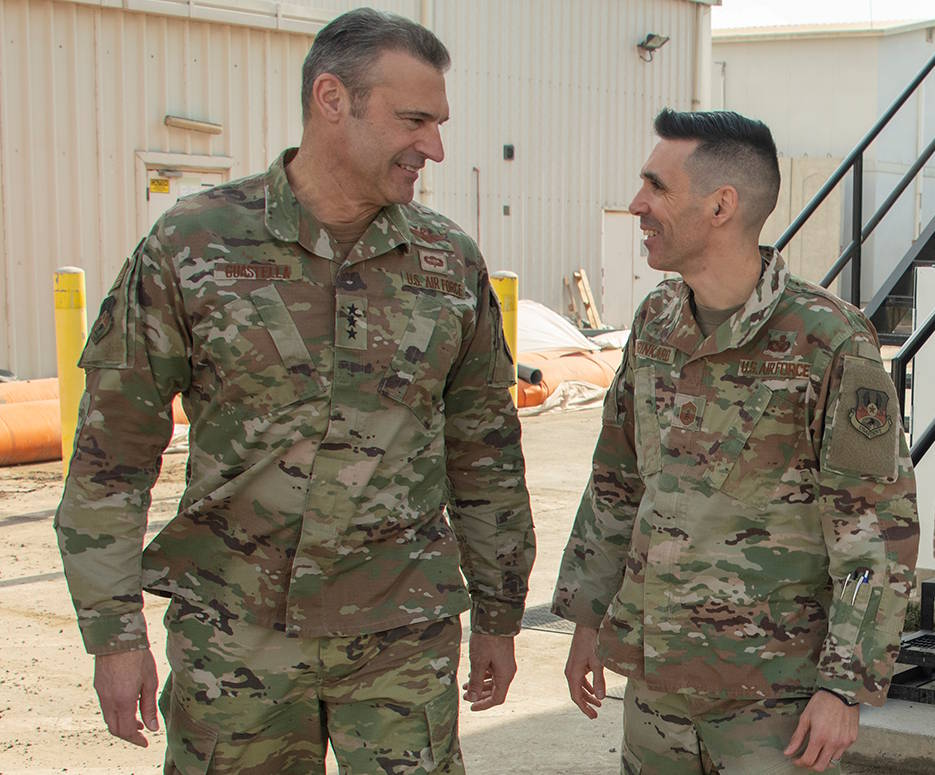 January 15, 2020 - U.S. Air Force Lt. Gen. Joseph T. Guastella Jr., U.S. Air Forces Central Command commander (left), speaks with U.S. Air Force Chief Master Sgt. Shawn L. Drinkard, AFCENT command chief, at Al Dhafra Air Base, United Arab Emirates. The AFCENT command team met with leadership and hosted an aircrew all-call where they talked about the importance of Airmen in the joint fight and AFCENT's role in current operations. (U.S. Air Force photo by Tech. Sgt. Kat Justen)