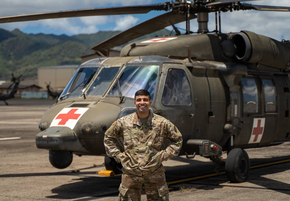 September 9. 2020 - First Lt. Mahdi Al-Husseini serves as an active-duty aeromedical evacuations officer with 3rd Battalion, 25th Aviation Regiment at Wheeler Army Airfield, Hawaii. He is also an engineer currently developing an aerial hoist stabilization system that could help save lives during an in-air medical extraction. (U.S. Army photo by Capt. Shane Toombs)