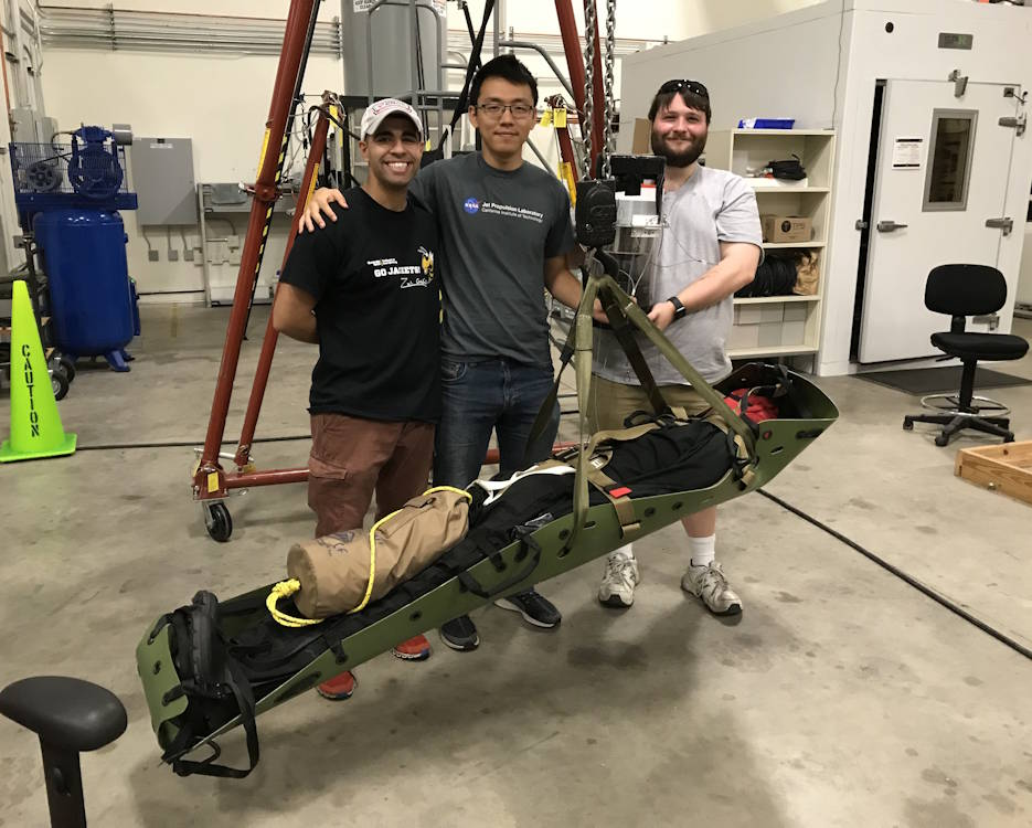 September 9. 2020 - First Lt. Mahdi Al-Husseini, left, an aeromedical evacuations officer, next to his engineering teammates, Anthony Chen and Joshua Barnett, as they show off their Stabilizing Aerial Loads Utility System. (Courtesy photo of 1st Lt. Mahdi Al-Husseini)