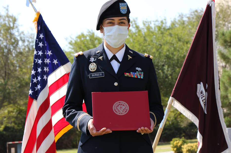 October 2, 2020 - Officer Cadet Kristel Burgeis receives her Master in Physician Assistant Studies during the William Beaumont Army Medical Center, Interservice Physician Assistant graduation. (U.S. Army photo by Vincent Byrd, William Beaumont Army Medical Center)
