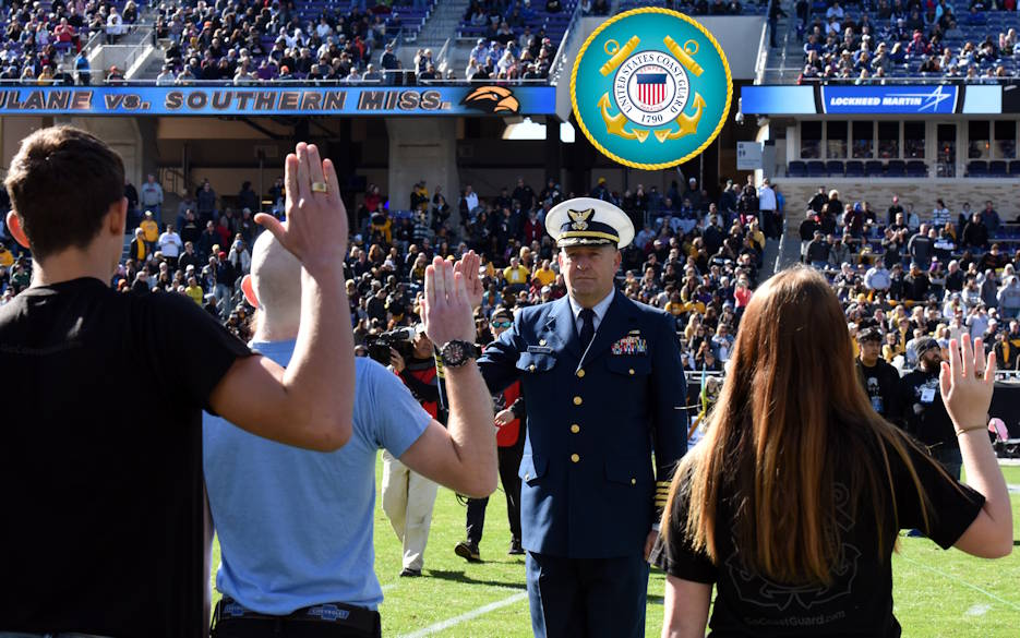 January 4, 2020 - Capt. Kevin Oditt, commanding officer of Sector Houston-Galveston, issues the Oath of Enlistment to eight Coast Guard recruits during halftime at the Lockheed Martin Armed Forces Bowl in Ft. Worth, Texas. (Image created by USA Patriotism! from U.S. Coast Guard photo by Petty Officer 2nd Class Johanna Strickland)