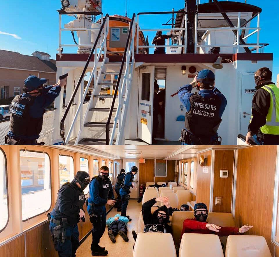March 3, 2020 - Coast Guard Sector North Carolina Enforcement Division, Coast Guard Station Hatteras Inlet and North Carolina Department of Transportation Ferry Division personnel conduct a maritime active shooter training exercise on a ferry to improve active shooter response protocols and interagency coordination. (Image created by USA Patriotism! from U.S. Coast Guard photos by Petty Officer 2nd Class Edward Wargo)
