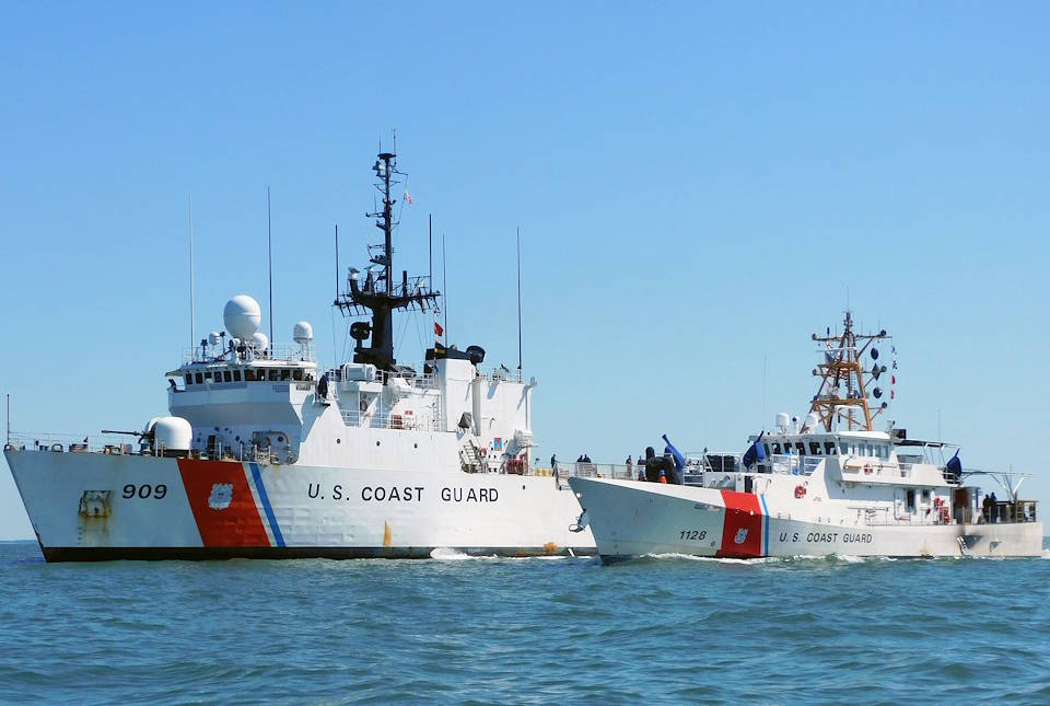 April 11, 2020 - The crew of the Coast Guard Cutter Bruckenthal participates in a fueling exercise with the Coast Guard Cutter Campbell on the Chesapeake Bay. The Coast Guard acquired the first Sentinel Class cutter in 2012, with the namesake of each cutter being one of the service's many enlisted heroes. (Image created by USA Patriotism! from U.S. Coast Guard photo by Petty Officer 3rd Class Isaac Cross)