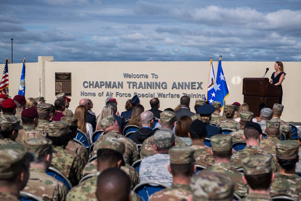 March 4, 2020 - Valerie Nessel, spouse of Master Sgt. John A. Chapman, gives a few words during the Joint Base San Antonio Annex renaming ceremony at Joint Base San Antonio-Chapman Training Annex, Texas. Joint Base San Antonio-Annex, home of Special Warfare training, is renamed JBSA-Chapman Training Annex in honor of the service, heroism, and ultimate sacrifice of Master Sgt. John A. Chapman. Chapman was posthumously awarded the Medal of Honor for his action in Takur Ghar, Afghanistan. (U.S. Air Force photo by Sarayuth Pinthong)