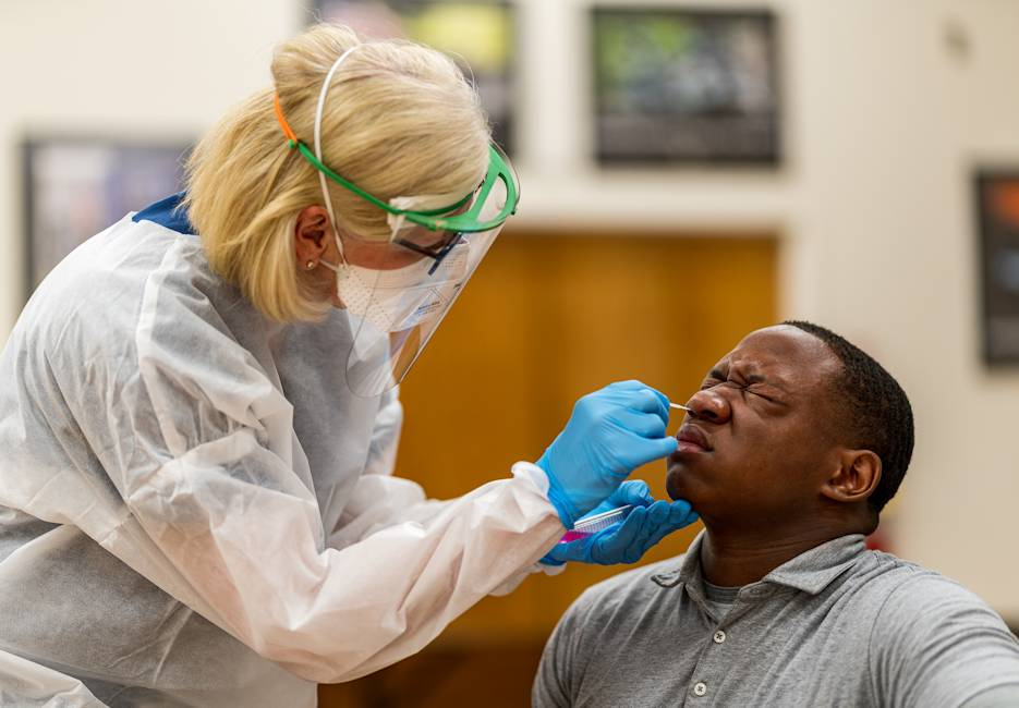 Dr. Kristina Box, the Indiana State Health Commissioner, administered the coronavirus nasal swab on July 2 2020. (National Guard photo by Sgt. Joshua Syberg)