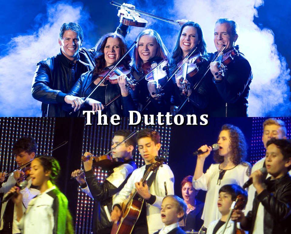 The entertainingly diverse Duttons Show is a must see when visiting Branson, Missouri ... especially during its Veterans Week in November, as shown in the bottom scene with Dutton Kids performing during the show on November 4, 2019. (Image created by USA Patriotism! from top scene provided by Explore Branson and bottom scene captured by USA Patriotism!)