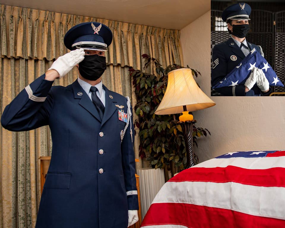April 8, 2020 - U.S. Air Force 911th Airlift Wing ceremonial guardsmen Tech. Sgt. Samuel Carothers (left) renders a salute and Staff Sgt. Tasha Gresco (inset) holds a folded flag during a funeral ceremony dry-run while wearing COVID-19 personal protective equipment in Pittsburgh, Pennsylvania. Airmen working in close proximity to one another are wearing PPE as the U.S. Air Force is committed to taking every precaution to ensure the health and well-being of all its personnel and family members, as well as, community members in the surrounding areas. (Image created by USA Patriotism! from U.S. Air Force photo by Joshua J. Seybert)