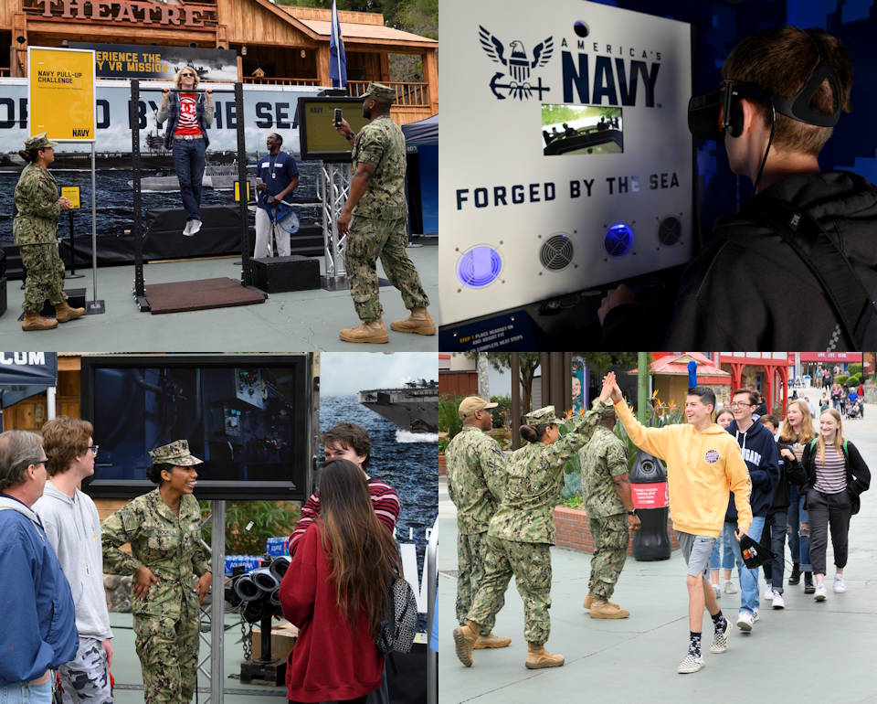 "January 20, 2020 – Students experience the U.S. Navy Los Angeles Swarm at Six Flags Magic Mountain, Los Angeles, California including competing in a pullup challenge; participating in a special warfare mission at the ""Burke"" virtual reality exhibition; and, interacting with Navy recruiters. A Swarm event is a large-scale recruiting effort run by the nation's top Navy recruiters to saturate a specified market with Navy outreach, information and recruiting assets. (Image created by USA Patriotism! from U.S. Navy photos by MC Elijah Newton and MC2 Preston Jarrett)"