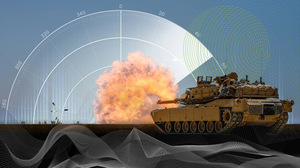 An illustration with an M1 Abrams tank firing. (U.S. Department of Defense graphic illustration by Regina Ali - September 10, 2020)