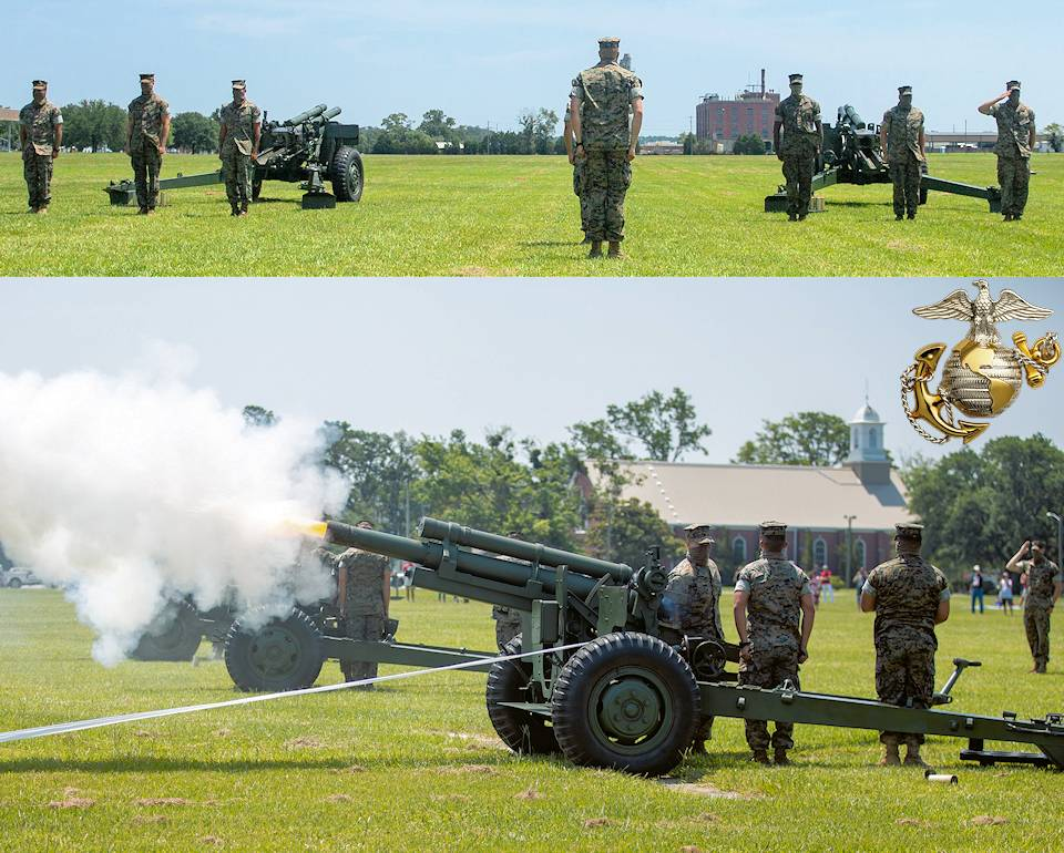 U.S. Marines with Alpha Battery, 1st Battalion, 10th Marine Regiment, 2d Marine Division render a 21-gun salute to celebrate Independence Day at Camp Lejeune, North Carolina on July 4, 2020. Since 1776, the Fourth of July has been recognized as the birth of American Independence, and was adopted as a national holiday in 1870 by Congress. (Image created by USA Patriotism! from U.S. Marine Corps photos by Lance Cpl. Patrick King.)