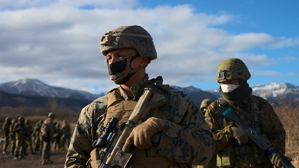 U.S. Marines with 3d Battalion, 8th Marines and Japan Ground Self-Defense Force infantrymen from the 30th Infantry Regiment set out for patrol training as part of exercise Forest Light. (U.S. Marine Corps photo by Capt. Nicholas Royer)