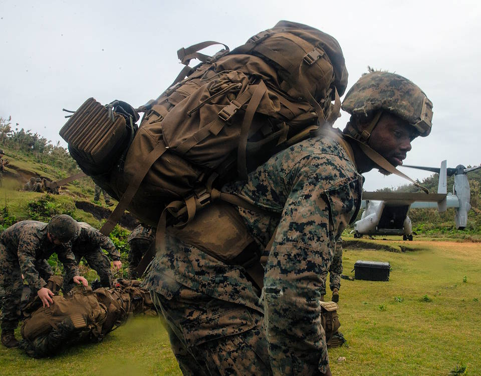 U.S. Marines shortly after landing on Gaja Jima, a small island off the coast of mainland Japan, as part of Keen Sword on Nov. 1, 2020. (U.S. Marine Corps photo by Lance Cpl. Scott Aubuchon)