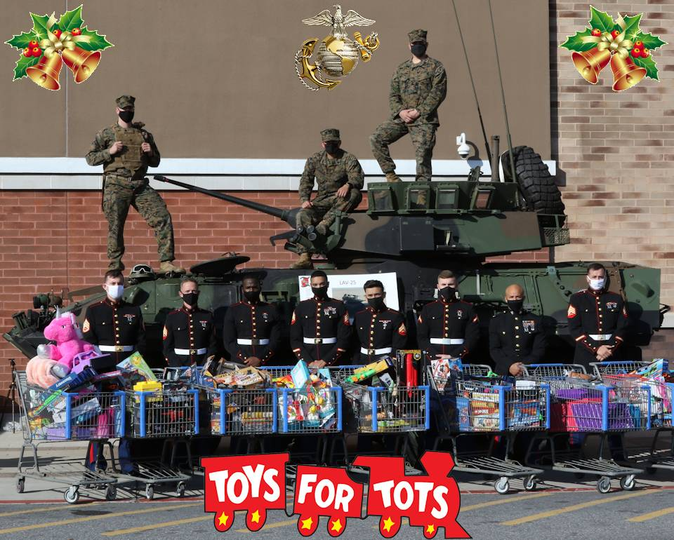 December 13, 2020 - U.S. Marines with the 4th Light Armored Reconnaissance Battalion, 4th Marine Division, Marine Forces Reserve, proudly display the toys that were donated during a Toys for Tots collection event at the local Walmart in Frederick, Maryland. (Image created by USA Patriotism! from U.S. Marine Corps photo by Sgt. Ryan Sammet.)