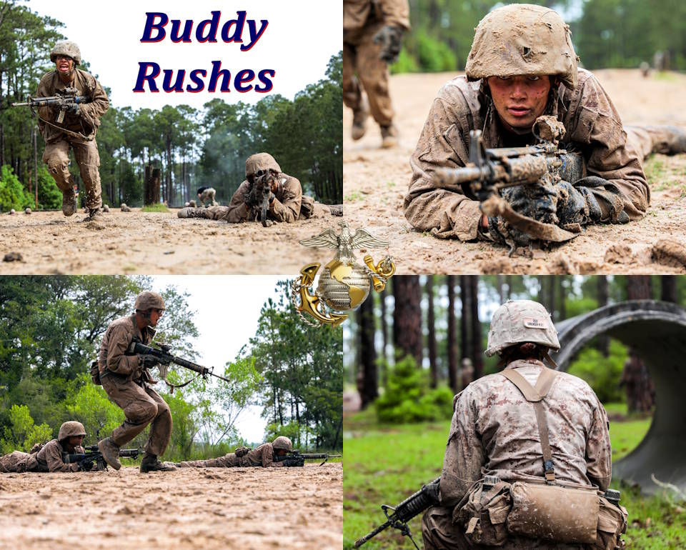 Recruits with Hotel Company, 2nd Recruit Training Battalion conduct buddy rushes during their Crucible aboard Marine Corps Recruit Depot Parris Island on April 23 and 24, 2020. The Marine Corps continues to implement social distancing standards while in training in response to the Coronavirus. (Image created by USA Patriotism! from U.S. Marine Corps photo by Lance Cpl. Devin Darden)