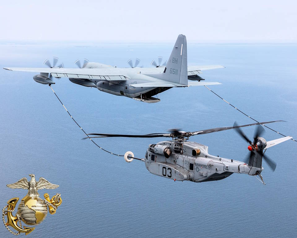 April 6, 2020 - A U.S. Marine Corps heavy-lift CH-53K King Stallion helicopter successfully plugs into a funnel-shaped drogue towed behind a KC-130J Hercules extended-range tanker during aerial refueling wake testing over the Chesapeake Bay. The all-new CH-53K King Stallion expands the Marine Corps' ability to move more material more rapidly. (Image created by USA Patriotism! from U.S. Marine Corps photo courtesy of Lockheed Martin by Dane Wiedmann)