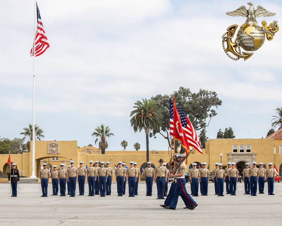 July 24, 2020 - The New Marines with the 1st Recruit Training Battalion, watch the Marine Corps Recruit Depot, San Diego Color guard participate during their graduation ceremony at Marine Corps Recruit Depot, San Diego. Graduation took place at the completion of the 13-week transformation including training for drill, marksmanship, basic combat skills and Marine Corps customs and traditions. (Image created by USA Patriotism! from U.S. Marine Corps photo by Lance Cpl. Zachary T. Beatty)