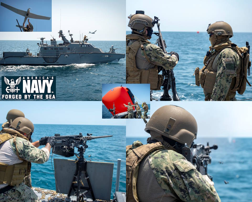 "April 16, 2020 -  Sailors, assigned to Commander Task Force 56 (CTF 56), participate in a weapons sustainment exercise aboard a Mark VI Patrol Boat in the Arabian Gulf. The activities include launching an RQ-20B PUMA Unmanned Aerial System and live-fire at a floating ""killer tomato"" target placed in the water by sailors (center image). Image created by USA Patriotism! from U.S. Navy photos by Mass Communication Specialist 1st Class Kory Alsberry."