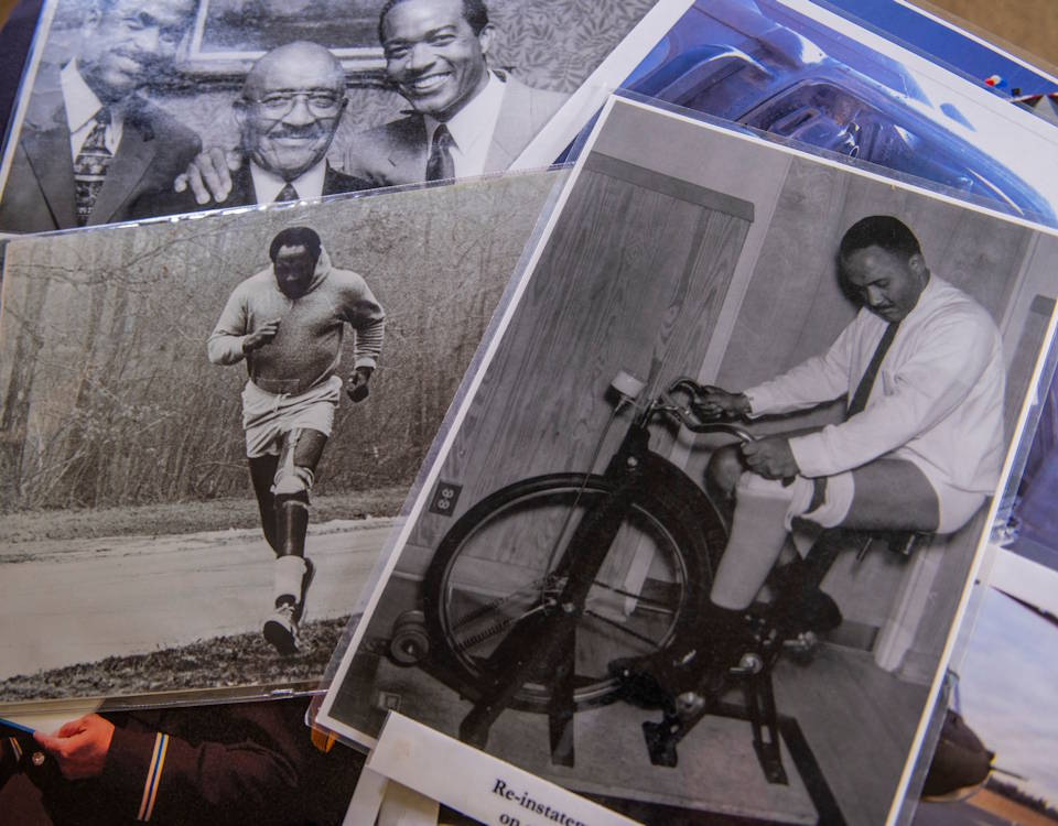 "Various photographs depict Carl Brashear's physical recovery after losing his leg in a diver accident in 1966. Brashear is the first African-American master diver in U.S. Navy's history whose life story about overcoming physical and racial adversity was featured in the Hollywood film ""Men of Honor"" starring Cuba Gooding Jr. and Robert De Niro. (U.S. Army Reserve photo by Master Sgt. Michel Sauret)"