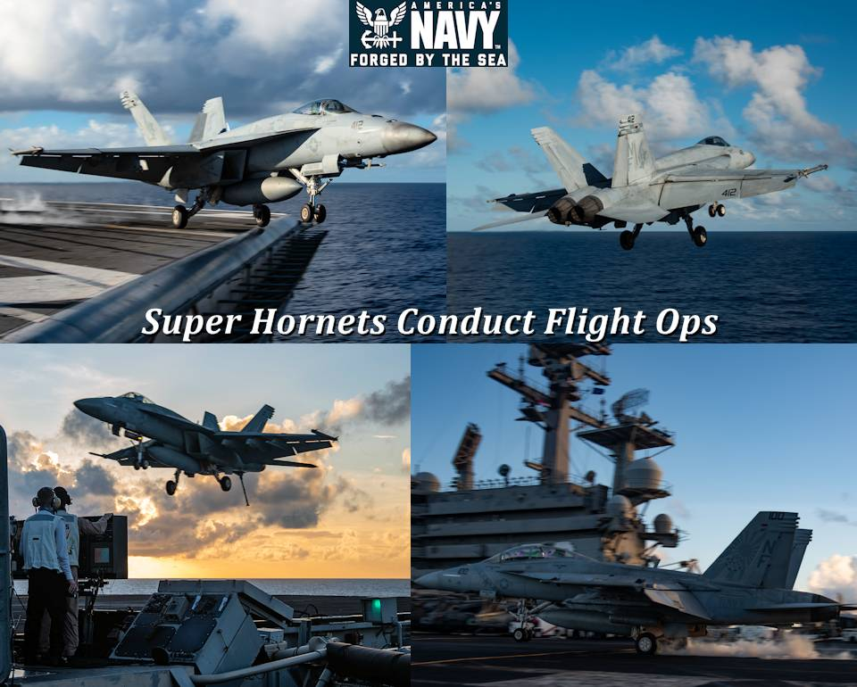 September 12, 2020 - F/A-18E Super Hornets attached to the Eagles of Strike Fighter Squadron (VFA) 115 take off and land during flight operations on the U.S. Navy's only forward-deployed aircraft carrier USS Ronald Reagan (CVN 76). (Image created by USA Patriotism! from U.S. Navy photos by Mass Communication Specialist 2nd Class Samantha Jetzer)