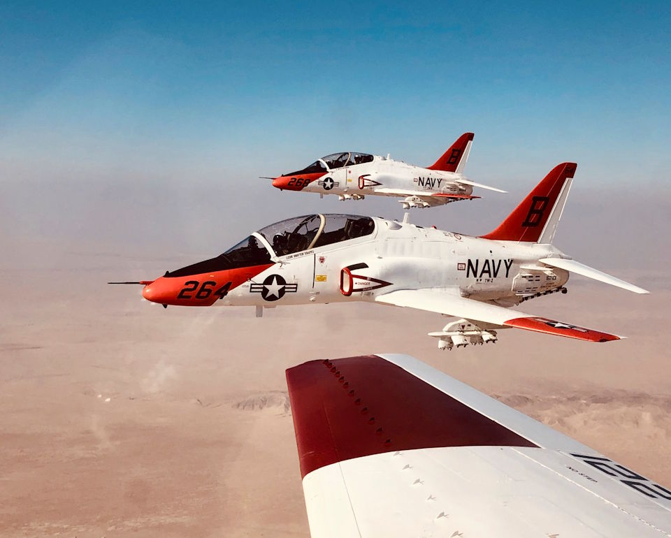 October 5, 2020 - Student naval aviators assigned to Training Air Wing (TW) 2 conduct a training flight in T-45C Goshawk jet trainer aircraft from Naval Air Facility El Centro. TW-2 conducts intermediate and advanced undergraduate strike fighter training for the Navy and Marine Corps. (U.S. Navy photo by Lt. j.g. Ross Davis)