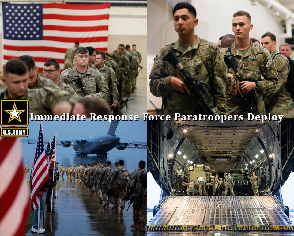 January 4, 2020 - Paratroopers assigned to 1st Brigade Combat Team ('Devil' Brigade), 82nd Airborne Division prepare to deploy for the U.S. Central Command area of operations from Fort Bragg, NC . This deployment is a precautionary action taken to respond to increased threat levels against U.S. personnel and facilities. (Image created by USA Patriotism! from U.S. Army photos by Spc. Hubert Delany III and SFC Zachary VanDyke)