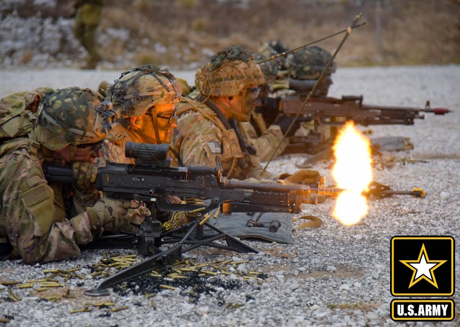February 25, 2020 - U.S. Army Paratroopers assigned to the 2nd Battalion, 503rd Infantry Regiment, 173rd Airborne Brigade, engage the targets during a blank-fire exercise as part of Rock Klescman at Pocek Range in Slovenia. (Image created by USA Patriotism! from U.S. Army Photos by Paolo Bovo, Training Support Activity Europe)
