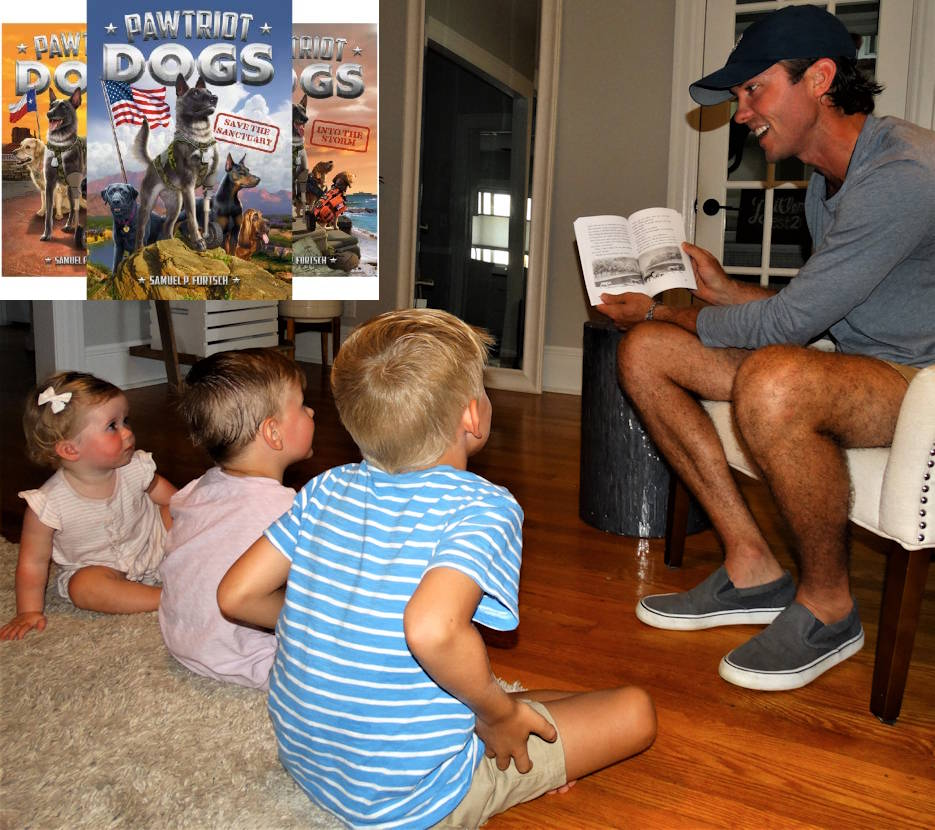 "August 9, 2020 - Madeline 1, William, 3, and Samuel, 5, listen to their father, Samuel P. Fortsch, read one of his books in the ""Pawtriot Dogs"" series, set to be released by Penguin Random House in September and October 2020. (Image created by USA Patriotism! from courtesy photo by Samuel Fortsch)"