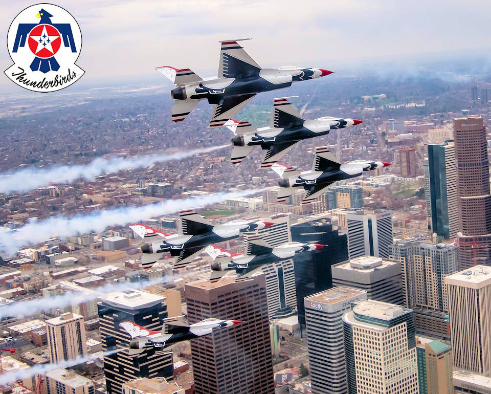 "April 18, 2020 - The United States Air Force Air Demonstration Squadron ""Thunderbirds"" fly over the Denver skyline during an Air Force Salutes flyover. The Air Force Salutes campaign honors healthcare workers, first responders, military members and other essential personnel working on the front lines to combat COVID-19. (Image created by USA Patriotism! from U.S. Air Force photo by Staff Sgt. Cory W. Bush)"