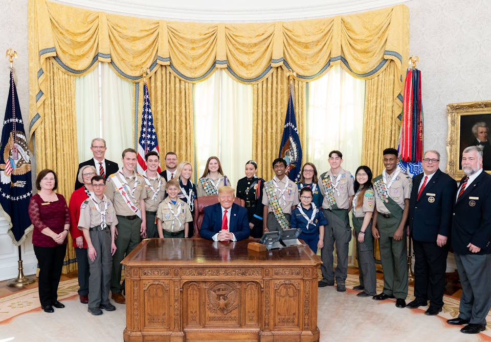 March 4, 2020 - President Donald J. Trump with Scouts during the presentation of the Boy Scouts' Report to the Nation in the Oval Office of the White House. (Official White House Photo by Tia Dufour)