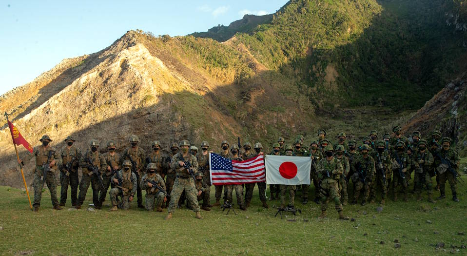U.S. Marines with Japan's Amphibious Rapid Deployment Brigade on Gaja Jima, a small island off the coast of mainland Japan, as part of Keen Sword on Nov. 1, 2020. (U.S. Marine Corps photo by Lance Cpl. Scott Aubuchon)