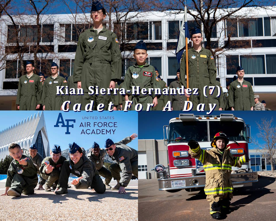 February 28, 2020 - United States Air Force Academy's Cadet for a Day program, in partnership with the Make-A-Wish Foundation, hosts 7-year-old Kian Sierra-Hernandez and his family. (Image created by USA Patriotism! from U.S. Air Force Academy photos by Joshua Armstrong)