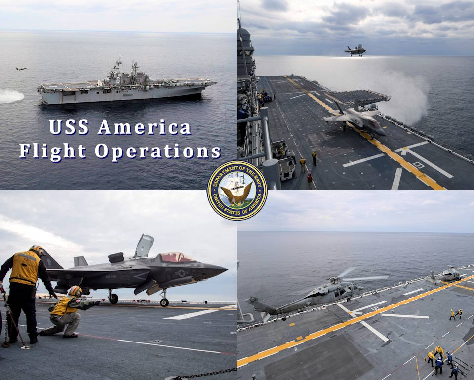 January 11, 2020 - U.S. Navy amphibious assault ship USS America (LHA 6) conducts flight operation as it sails in the East China Sea. The America Expeditionary Strike Group, 31st Marine Expeditionary Unit team is operating in the U.S. 7th Fleet area of operations to enhance interoperability with allies and partners and serve as a ready response force to defend peace and stability in the Indo-Pacific region. (Image created by USA Patriotism! from U.S. Navy photos by Mass Communication Specialist Seaman Jonathan Berlier, Petty Officer 3rd Class Vance Hand, and Petty Officer 3rd Class Vincent Zline)