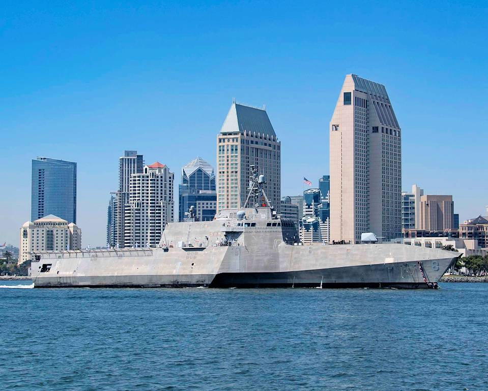 June 10, 2020 – Independence-class Littoral combat ship USS Montgomery (LCS 8) returns to its homeport of San Diego following the successful completion a 12-month rotational deployment. (Image created by USA Patriotism! from U.S. Navy photo by Mass Communication Specialist 3rd Class Kevin C. Leitner.)