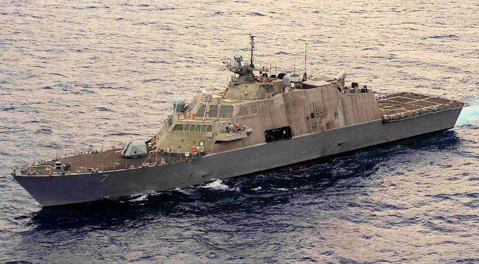 May 9, 2020 - The Freedom-class littoral combat ship USS Detroit (LCS 7) sails through the Caribbean Sea. Detroit is deployed to the U.S. Southern Command area of responsibility to support Joint Interagency Task Force South's mission, which includes counter illicit drug trafficking in the Caribbean and Eastern Pacific. (U.S. Navy photo by Mass Communication Specialist 2nd Class Anderson W. Branch)