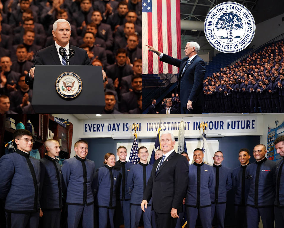 February 13, 2020 - Vice President Mike Pence delivers remarks to The Citadel cadets and then afterwards visits with cadets at McAlister Field House in Charleston, South Carolina. (Image created by USA Patriotism! from Official White House Photos by D. Myles Cullen)