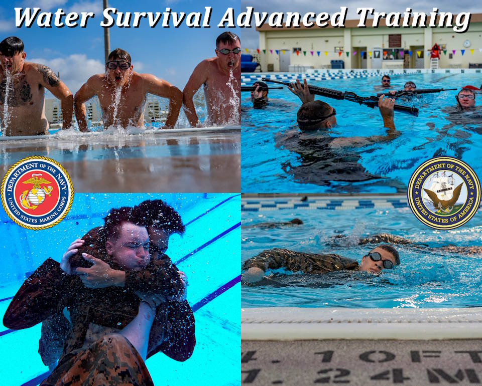 January 27-31, 2020 - Marines and sailors from across Marine Corps Base Camp Smedley D. Butler endured a 5-day Water Survival Advanced course ... learning to stay calm in the water and four different types of rescues, while wearing a full Marine Corps combat utility uniform. (U.S. Marine Corps photo by Lance Cpl. Brennan J. Beauton)