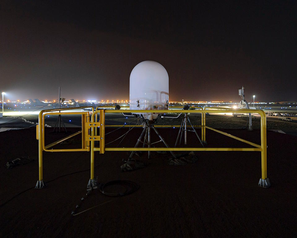 A weather radar gathers information to send to weather operations forecasters assigned to the 407th Expeditionary Operations Support Squadron at Ali Al Salem Air Base, Kuwait, April 13, 2021. The weather flight mitigates environmental threats through integration of every phase of operations planning and execution, maximizing windows of opportunity, and minimizing risk to personnel and resources. (U.S. Air Force photo by Senior Airman Taryn Butler)