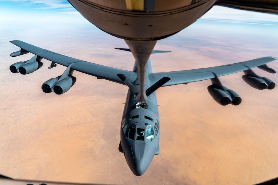 An Air Force B-52 Stratofortress from Minot Air Force Base is refueled by an Air Force KC-135 Stratotanker in the U.S. Central Command's area of responsibility, Jan. 17, 2021. The B-52 Stratofortress is a long-range, heavy bomber that can carry nuclear or precision guided conventional ordnance with global reach precision navigation capability. (U.S. Air Force photo by Senior Airman Roslyn Ward)