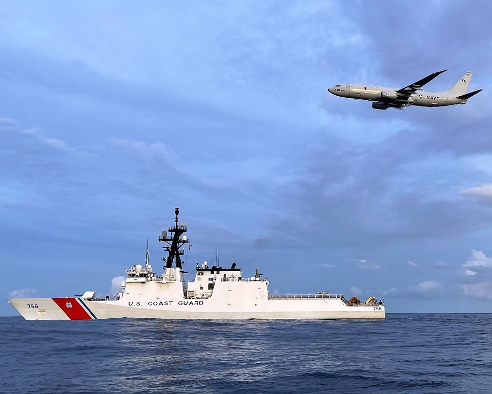 February 4, 2021 - The crew of the Coast Guard Cutter Kimball (WMSL-756) and a Navy P-8 Poseidon aircrew search for a missing mariner off Guam. The mariner attempted to swim to a nearby fishing vessel from the fishing vessel Miyamaru No. 18. (Image created by USA Patriotism! from U.S. Coast Guard Cutter Kimball courtesy photo.)