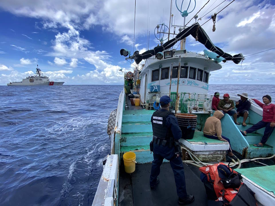 While patrolling approximately 3,600 miles in the Philippine Sea, the Coast Guard Cutter Kimball's law enforcement team conducted its first ever at-sea boarding on Feb. 10, 2021. As part of Operation Blue Pacific, the crew of the Kimball deployed in support of national security goals of stability and security throughout the Indo-Pacific. (U.S. Coast Guard photo courtesy of the Coast Guard Cutter Kimball)