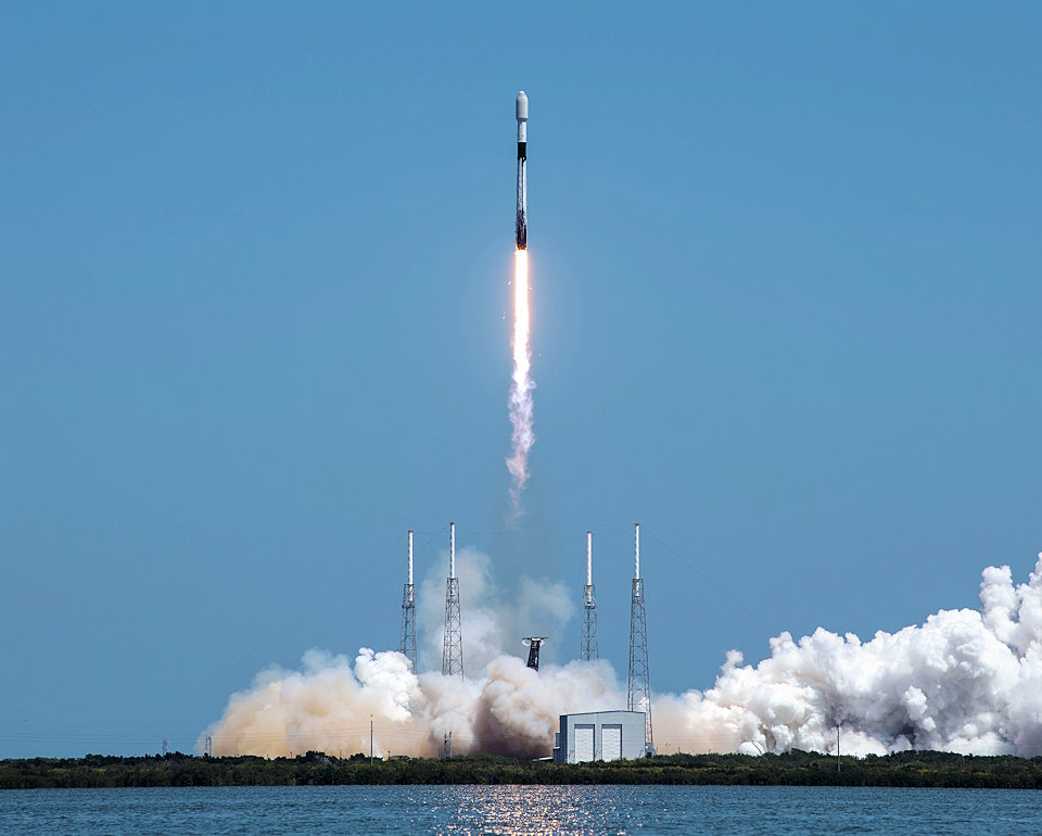 April 7, 2021 - A Falcon-9 rocket carrying SpaceX's Starlink L-23 payload launches from Cape Canaveral Space Force Station, Florida. The rocket carried 60 internet satellites, which are designed to enhance global broadband services, into space. The launch was the 10th for the Falcon-9 since Jan. 1, 2021. (U.S. Air Force photo by Tech. Sgt. James Hodgman)