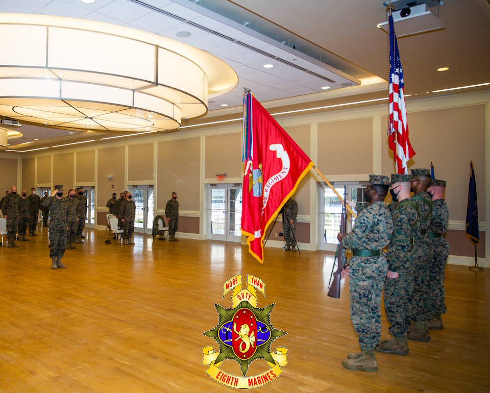 U.S. Marine Corps Gen. Francis L. Donovan, 2d Marine Division commanding general, salutes the colors during a deactivation ceremony for 8th Marine Regiment on Camp Lejeune, NC on Jan. 28, 2021. The regiment served a total of 70 years and is now being deactivated in accordance with the Commandant of the Marine Corps' Force Design 2030. (Image created by USA Patriotism! from U.S. Marine Corps photo by Lance Cpl. Chase W. Dray)