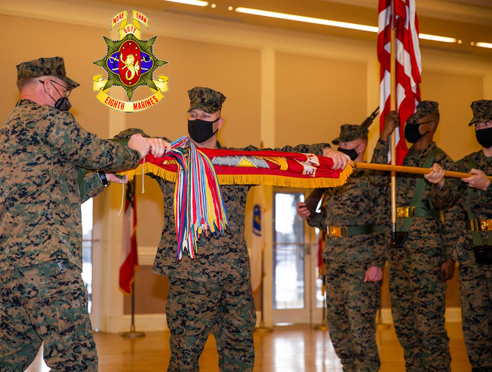 U.S. Marine Corps Col. John H. Rochford, the commanding officer of 8th Marine Regiment, and Sgt. Maj. Keith D. Hoge, the sergeant major of 8th Marine Reg., both with 2d Marine Division, case the regimental colors during a deactivation ceremony on Camp Lejeune, N.C., Jan. 28, 2021. The regiment served a total of 68 years and is now being deactivated in accordance with the Commandant of the Marine Corps' Force Design 2030. (Image created by USA Patriotism! from U.S. Marine Corps photo by Lance Cpl. Chase W. Drayer)
