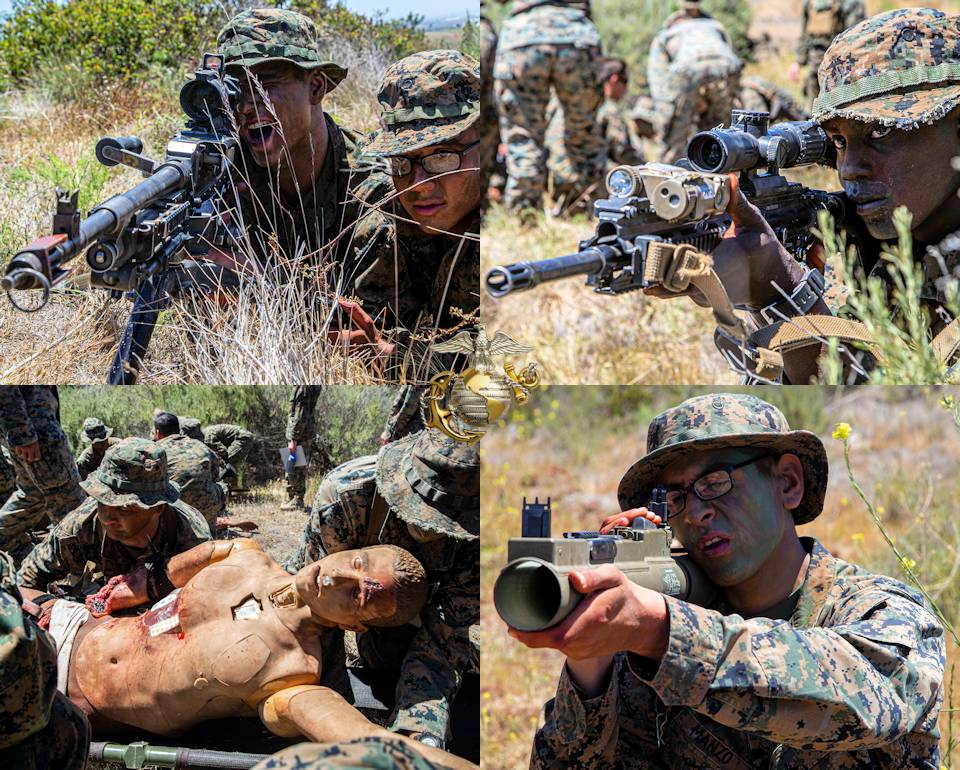 April 29, 2021 - U.S. Marines with Alpha Company, Infantry Training Battalion, School of Infantry - West, conduct the Capstone exercise associated with the Infantry Marine Course (IMC ) on Marine Corps Base Camp Pendleton, California. (Image created by USA Patriotism! from U.S. Marine Corps photos by Sgt. Jeremy Laboy.)