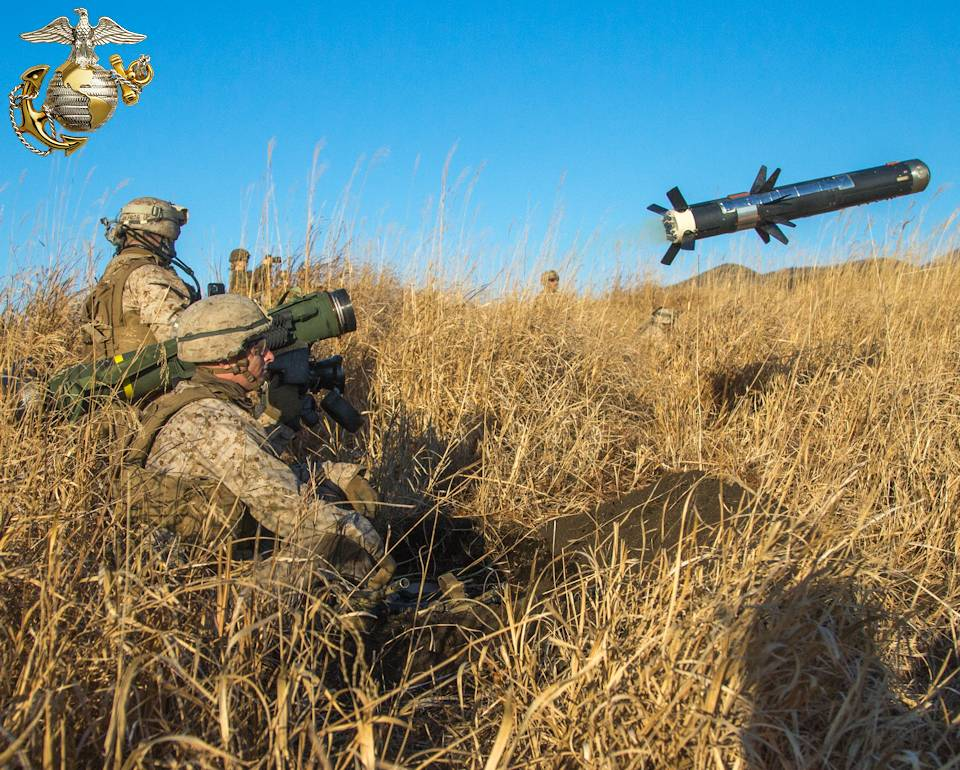 January 22, 2021 - U.S. Marine Corps Lance Cpl. Anthony Depalma, an anti-tank missileman with 3d Battalion, 8th Marine Regiment, fires a Javelin Man-Portable Anti-Tank Missile with fellow Marines observing at Combined Arms Training Center, Camp Fuji, Japan. Marines honed their tactical skills during Joint Exercise Littoral Strike, the culminating event for Fuji Viper 21.2. (Image created by USA Patriotism! from U.S. Marine Corps photo by Cpl. Savannah Mesimer.)