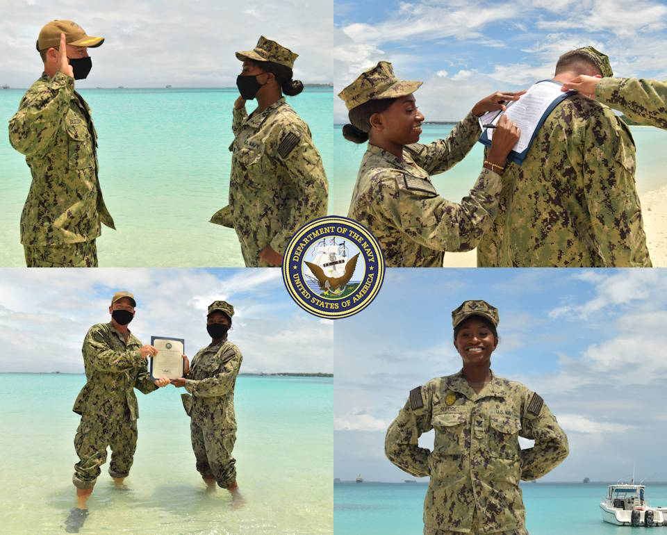 January 22, 2021 – Master-at-Arms 2nd Class Nieshia Sledge, assigned to the security department on U.S. Navy Support Facility Diego Garcia, recites the oath of reenlistment with Capt. R. Wade Blizzard, the commanding officer of NSF Diego Garcia, during a reenlistment ceremony. (Image created by USA Patriotism! from U.S. Navy photos by Mass Communication Specialist Seaman Mariterese Merrique.)