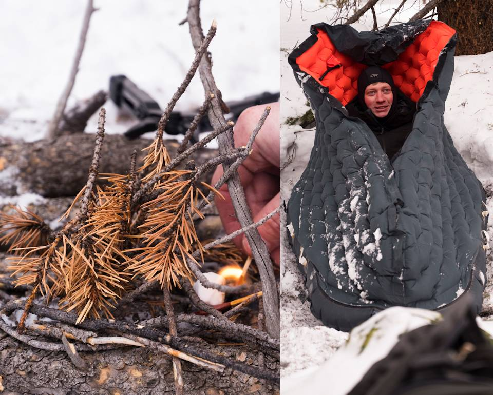 U.S. Air Force Capt. Joseph Christensen, pilot, 120th Fighter Squadron, starts a fire (left) and then warms up a LRU-16/P life raft (right) during Survival, Evasion, Resistance and Escape arctic training in San Isabel National Forest near Leadville, Colorado on February 9, 2021. (Image created by USA Patriotism! from U.S. Air National Guard photos by Staff Sgt. Austin Harvill)